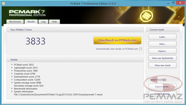 PCMark 7 Benchmark result.