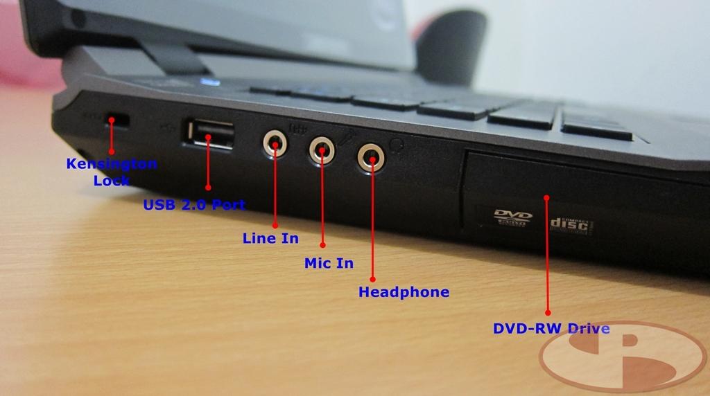 Port (Line In, Mic In dan Headphone), juga DVD-RW drive
