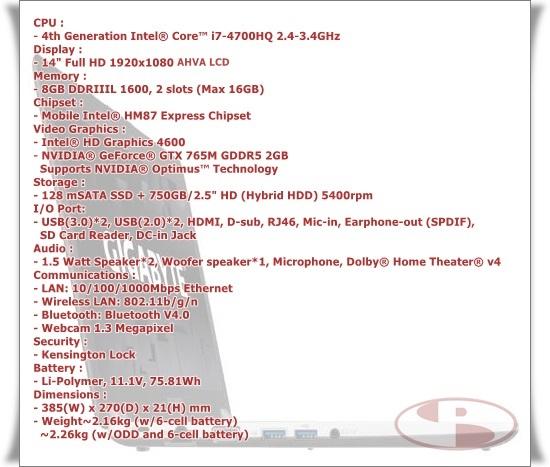 Spesifikasi Gigabyte P34G versi sample yang Pemmz review.