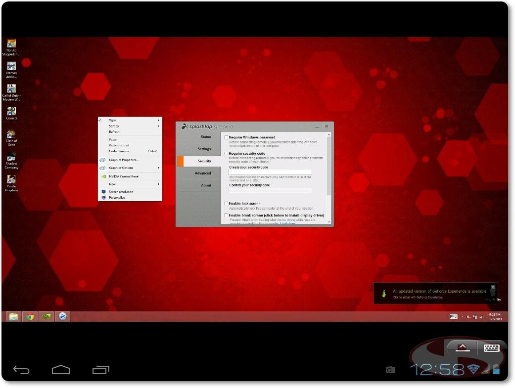 Tampilan splashtop saat terkoneksi dengan komputer yang di remote.