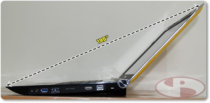 Jarak maksimal panel LCD terbuka.