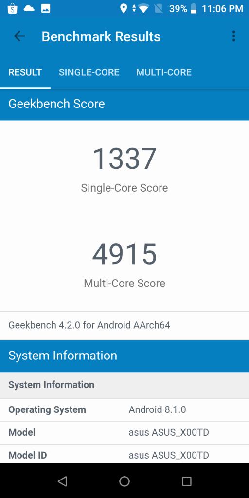 review Zenfone Max Pro M1 - Benchmark - Geekbench