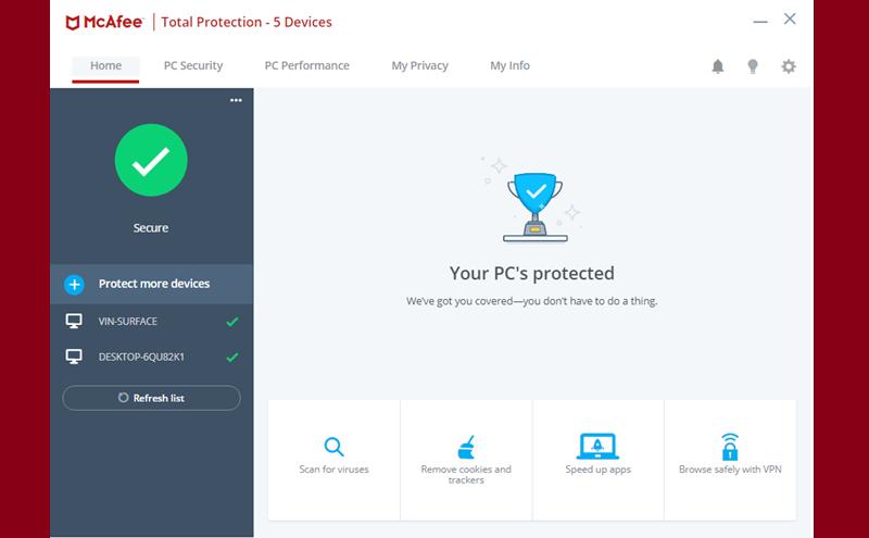 McAfee Total Protection, aplikasi antivirus terbaik 2021